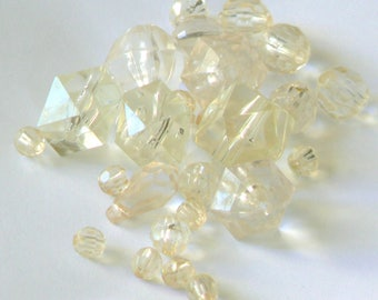 set pale yellow faceted beads