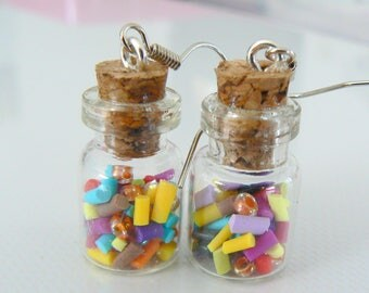 Stud Earrings with sprinkles polymer clay multicolor glass vial and seed beads