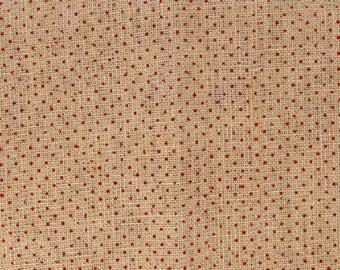 Burlap flocked red polka dots - coupon 30 x 90 cm - Ref 13020112
