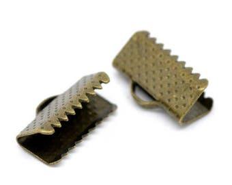 10 ties 13x8mm bronze Ribbon crimps