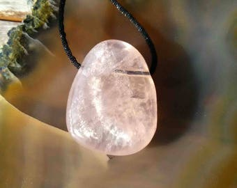 Rose quartz mounted black cord pendant