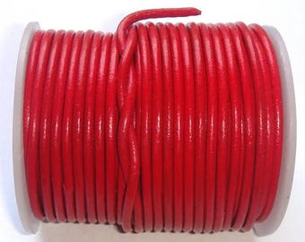 Red 1 mm round leather cord