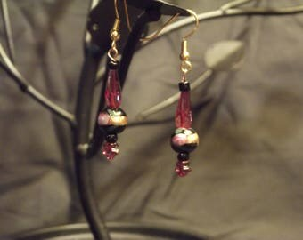 Black and gold glass bead earrings