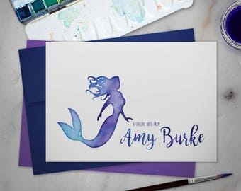Personalized Stationery Note Cards Set with Envelopes | Watercolor Mermaid