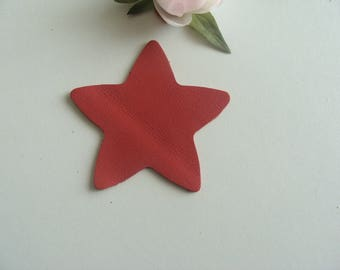 leather red color 8 cm diameter star applique