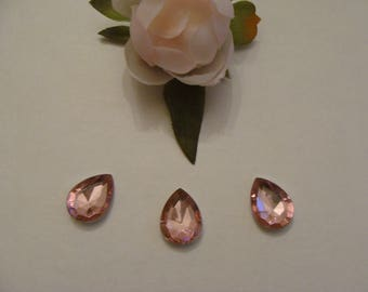 Set of 3 pale pink acrylic rhinestone 14 * 18 mm cabochons