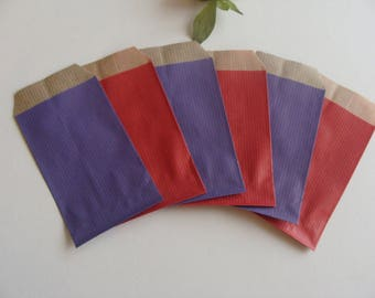 1 set of 20 gift wrapping jewelry purple red 7 * 12 cm bottom Brown kraft paper bag