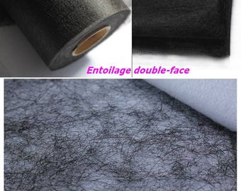 Fusible interfacing tape double sided Black canvas batting fusible iron 30cm x 35cm for DIY fabric Panel