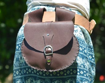 Chocolate brown leather belt bag