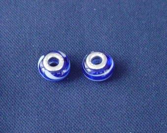 2 blue beads and white Lampwork bracelet snake