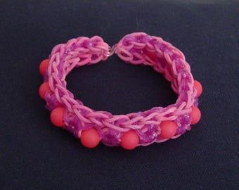 Bracelet purple pink elastic and beads