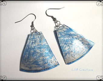 Upcycled blue and Silver earrings