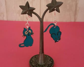 Shrink plastic Earrings: blue green cat and mouse.