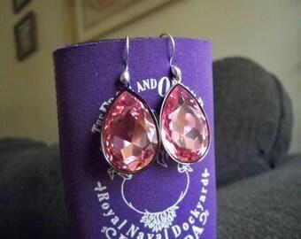 Beautiful Bold Light Rose Swarovski Crystal Earrings 30x20mm BS2