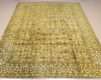 """Vintage Overdyed Turkish Rug, Handmade, Yellow, 7 feet 7 inches by 10 feet 8 inches (7'7""""x10'8"""")"""