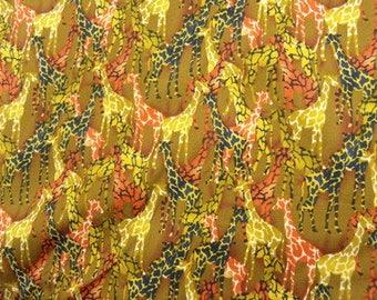 Brown giraffe print cotton fabric