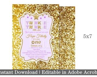 Twinkle twinkle little star first birthday invitation, Purple and gold first birthday invitation, girl first birthday invitation