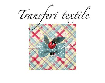 Textile transfer little Ladybug 7 / 7cm Jul and wire design
