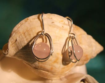 Silver earrings with Rose Quartz beads