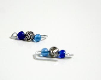 Clips on earrings - beads and aluminum