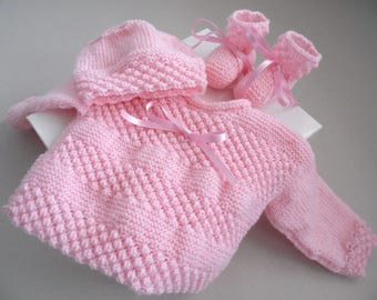 Set 1 month jacket Hat knit pink hand made wool baby booties