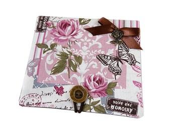 "Card ""Romantic"" Papillon""fabric pink green flowers"