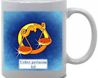 "Personalized mug ""Scales"" Astrology theme"