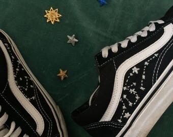 Hand Embroidered Upcycled Women's 'Old Skool' Vans