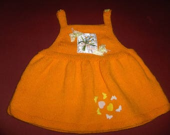 dress jumpsuit 9 months, mango, acrylic, appliquéd onto the bib and skirt