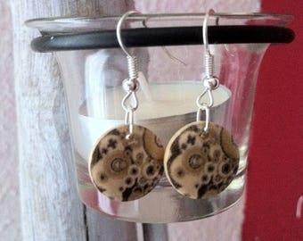 Wood bead round wood earrings