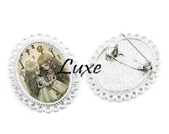 Pretty brooch with Cabochon 25x18mm sister twins