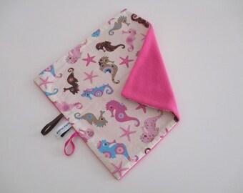 "1 blanket in pink fleece fabric ""Seahorse"""