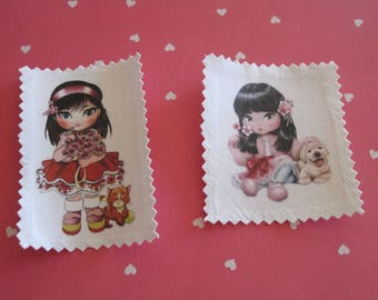 Transfer, image has sewing girl, dog, cat, flowers