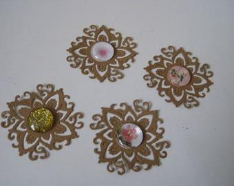 Set of 4 embellishments, cuts, dies, arabesque, bird, flowers, shabby