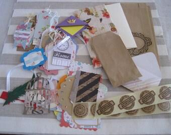 Enter, wholesale lot of embellishments, cutouts, sachet kraft tags, scrapbooking