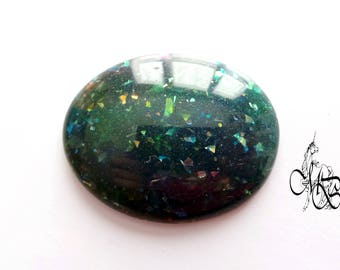 """""""Opalescent glitter"""" polymer clay oval cabochon"""