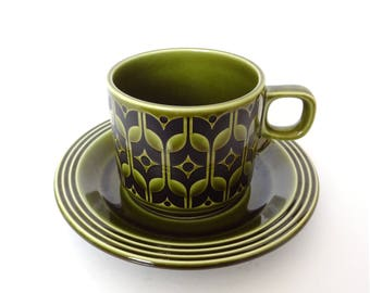 FREE DELIVERY! Vintage HORNSEA England Green Heirloom Cup & Saucer Set