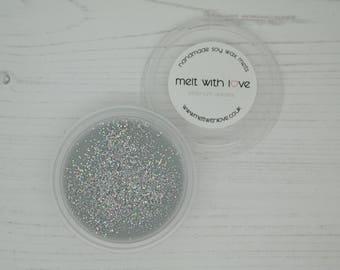 Platinum Dreams - Soy Wax Melt Shot Pot. Soy wax melts, soy wax, glitter wax melts, glitter candle melt, wax melt favour, wax melt.