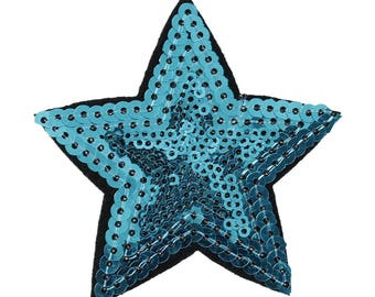 Patch applique fabrics in blue sequin star