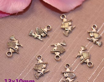 10 charms silver witch Halloween 13x10mm