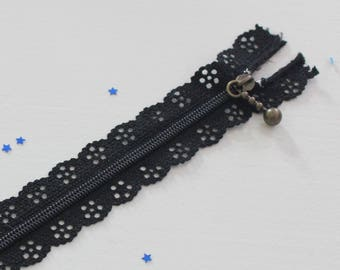 Lace black zipper with non detachable 20 cm x 1