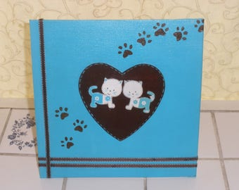 Small frame for kids decor cats in heart blue turquoise/Brown