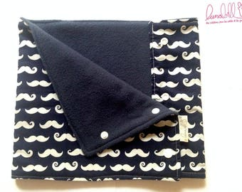 Reversible Snood for children in fleece and cotton blue mustaches
