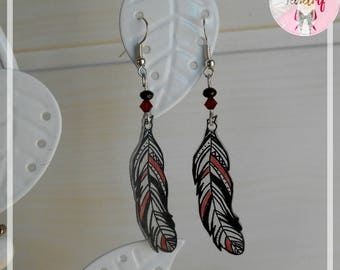 Feather earrings made of plastic crazy