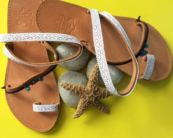 """Handmade sandals, leather, """"Lace lovers"""""""