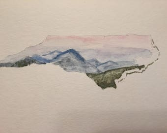 Watercolor NC Note Card Blue Ridge Mountains