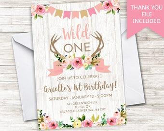 Wild One Invitation Invite Girls Digital 5x7 Boho Antlers Deer Watercolor Floral Birthday Pink