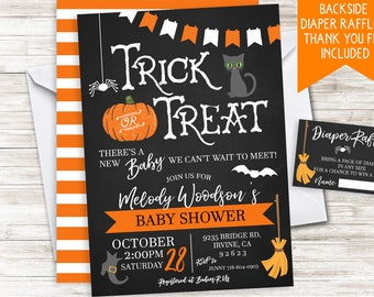 Halloween Baby Shower Invite Invitation Digital 5x7 Sprinkle Chalkboard
