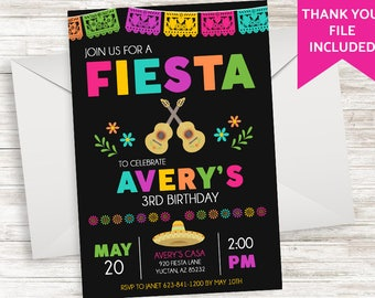 Fiesta Birthday Invitation Invite Coco Inspired Digital 5x7 Chalkboard Colorful Bright Kids Girls Guitar