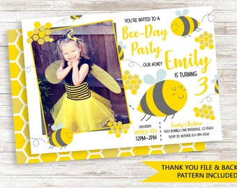 Bee Invite Invitation Photo Digital 7x5 Kids Girls Yellow Honey Bee Bumble Bee Birthday Party